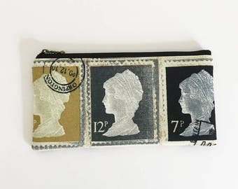 SALE Flat  zipper pouch  - UK 2nd class stamp print