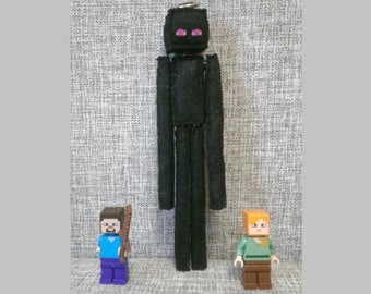 Minecraft Enderman Stuffed Felt Handmade Plush, Computer Game, Birthday Gift, Mining Fan, felt keychain, Enderman