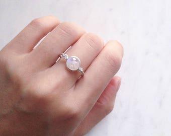 Rainbow Moonstone Ring, Sterling silver gemstone ring, June birthstone Promise ring, Statement ring, Iridescent jewellery Australia