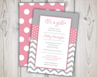 Baby Shower Invitation Girl   5x7 Printable   It's a Girl Baby Shower Invitation Pink