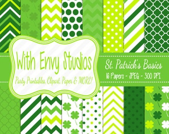 SALE  St. Patricks Day Digital Scrapbook Paper Pack - St. Patricks Scrapbook Paper Set - Green Digital Paper,