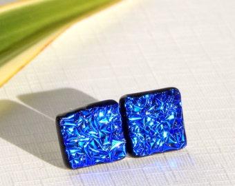 Intense Blue Dichroic Glass Stud Earrings - Fused Glass Jewelry - Cobalt Blue Glass Post Earrings on 925 Sterling Silver