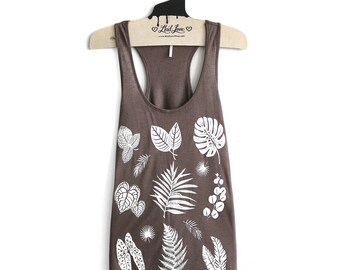 Small- Brown Slub Speckle Racer Back Tank with Plants Screen print