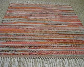 Handwoven Peach and Gray Rag Rug 25 x 29