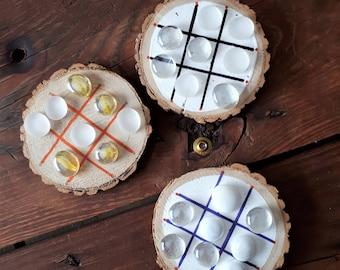 Handmade wood slice tic-tac-toe game, wood game, wood slice game, tic tac toe, Easter gift, handmade gift, kids game,cottage cabin game