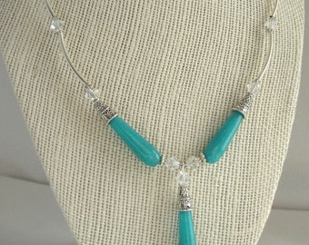 Necklace with turquoise jade beads, crystals and silver tubes, turquoise jade necklace with Swarovski crystals