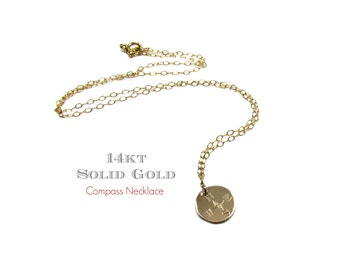 14KT Compass Charm Necklace, Engraved Compass Necklace, Travel Charm Necklace, Engraved Round Disc in 14KT Solid Gold- Yellow, White & Rose