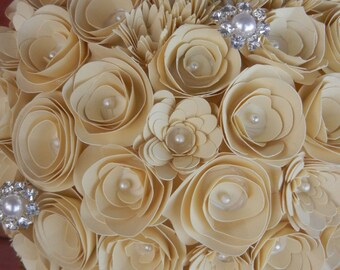 XL Handmade Paper Wedding Bouquet Bride or Bridesmaids Bouquet ANY Colors Free matching Boutonniere Ivory  and Burlap
