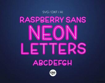 "Letter Set INSTANT DOWNLOAD ""Neon Letters"" svg, bold decorative font, neon font, svg font, color font, mockup, neon alphabet, dxf, ai, svg"