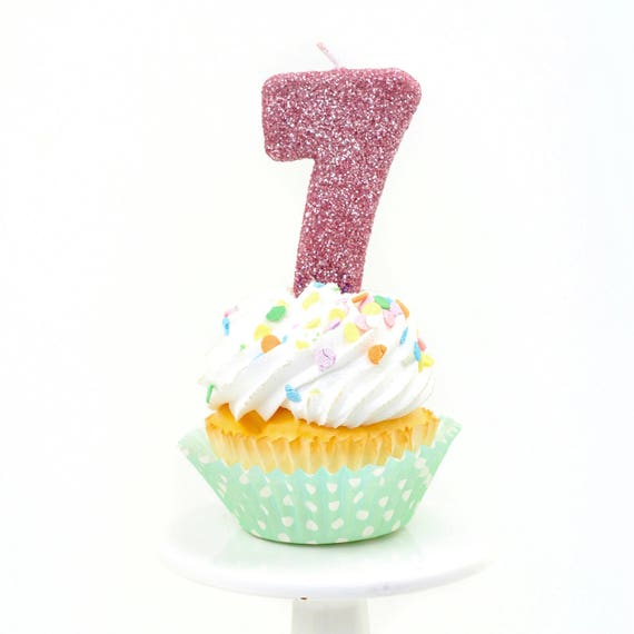 """3"""" Number 7 Candle, Giant 7 Candle, Giant 7 Candle, Blush Pink Party, Blush Pink Candle, Gold Birthday Candle, Glitter Birthday"""