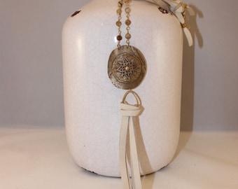 Bronze Filligree Compass Medallion Pendant, Jasper Chain, Natural Deerskin Leather, Gold Vermeil Connector