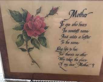 Mother poem and drawing of Red Rose and signed Gail