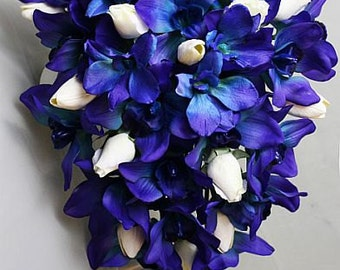 Deep blue/purple orchids, cobalt, royal, navy, white, CASCADE Bride bouquet, Groom, Real Touch flowers, silk wedding, orchids tulips roses