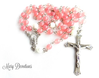 Milky Pink Glass and Mother of Pearl Rosary
