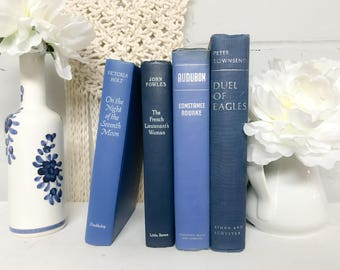 Blue Decorative Books, Shelf Decor, Vintage Books, Old Books, Blue Books, Blue Decor