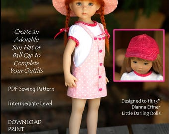 """Happy Hats-LD  PDF sewing pattern for 13"""" Effner Little Darling dolls"""