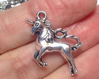 Silver unicorn charms, 3D silver unicorn charms, unicorn Jewelry Making Charm Pendant, diy fantasy jewelry (4 pieces) 24mm