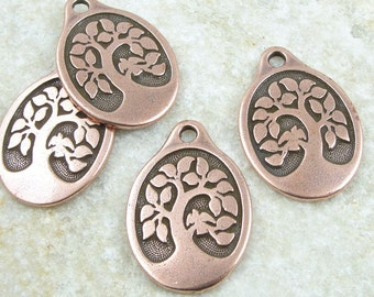 Antique Copper Pendant Tree of Life Pendant TierraCast Bird In A Tree Pendant Yoga Charms Copper Charms for Mindfulness Jewelry (P1261)