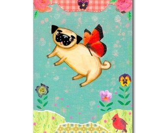 ORIGINAL fairy pug painting Mixed Media collage original painting butterfly wings pug Spring time fairy by Tascha