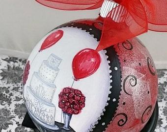Art Deco Wedding Ornament - Red & Black Wedding, Gatsby Wedding Ornament, Wedding Cake Ornament, Hand Painted Glass Ornament