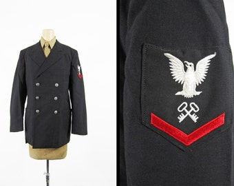 Vintage 70s US Navy Uniform Jacket Storekeeper Black Wool Dress - Size 39 R