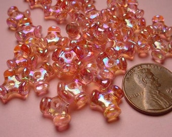 24 Vintage Interlocking Triangular Pink Beads with AB aurora borealis