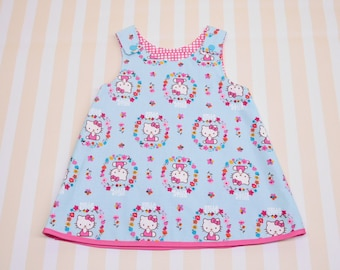 6 - 12 months, blue baby girl dress, reversible a-line dress, pinafore dress with snaps, summer outfit with cats, blue pink girl tunic dress