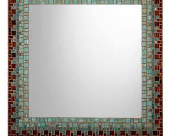 Brown and Teal Wall Mirror | Mosaic Mirror | Handmade Mirror | Custom Mirror | Large Mirror | Tiger's Eye Brown & Teal