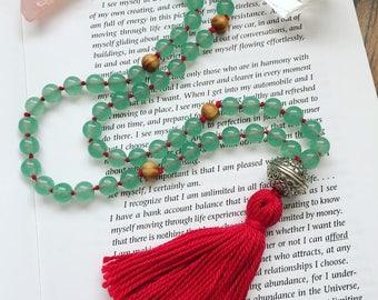 108 Bead Green Jade Mala Necklace, Buddhist Prayer Beads, Meditation Jewellery, Mala Jewellery, Healing Mala Beads, Prayer Beads.