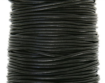 Round Leather Cord  1 mm Diameter Black Color (Length: 5 Yards)