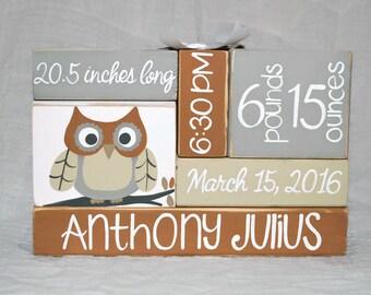 Owl Woodland Nursery Baby Birth Stat WoodenBlock Shelf Sitter Stack