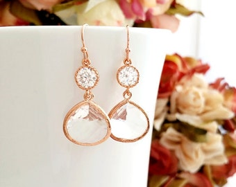 Drop Earrings Bridesmaid Earrings Rose Gold Jewelry Bridesmaids Jewelry Gift Dangle Earrings Bridesmaid gift