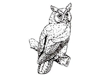 Great Horned Owl, unmounted rubber stamp, night bird of prey, Halloween, nature No.9