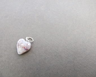 Flower Petal Heart Sterling Silver Charm/ Made From Your Flowers/ Wedding and Funeral Keepsake