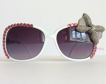 Bowtique - White Embellished Sunglasses Silver Sparkly Bow Pink Crystal Rhinestones Bling Glam Sunnies