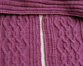 Knit Scarf Pattern:  Rick Rack Cabled T-Neck Scarf Knitting Pattern