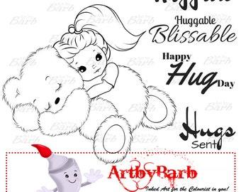 Huggable,  cute line art, digital stamp, clip art, art print, wordart, sentiments, to colour, to craft, greeting card, crafty make,cute digi