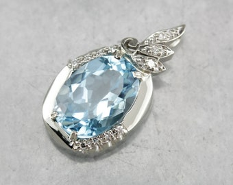 Blue Topaz Pendant, Topaz and Diamond, Upcycled Pendant, White Gold and Topaz, Topaz necklace W24P037Z-C