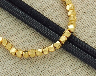 30 of Karen hill tribe 24k Gold Vermeil Style Faceted Nugget Beads 2.5mm.  :vm0011