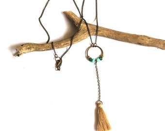 Beaded Beige Tassel Necklace