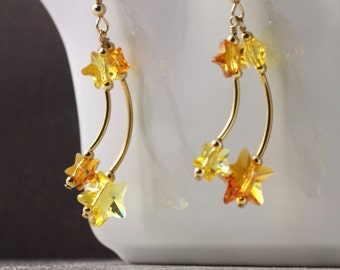 Celestial Jewelry Falling Star Earrings Topaz Yellow Crystal Shooting Star Jewelry Gold Celestial Fashion Girlfriend Gift Under 30