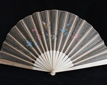Antique Victorian or Edwardian black and cream floral painted fan, Gothic black fan, butterfly fan, costume fan, collectors fan, theatre fan