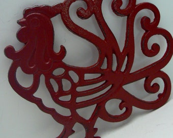 Rooster Cast Iron Trivet Hot Plate Heritage Red Shabby Elegance Ornate Swirled Tail Rooster Farm House Country Chic Kitchen Decor