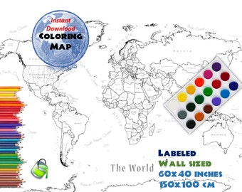 Coloring page world map labeled extra large 48x32 inch and giant coloring world map labeled 60x40 inch and 150x100 cm coloring map gumiabroncs Image collections