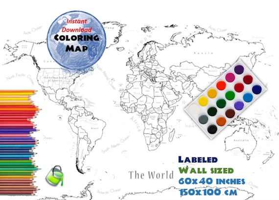 Giant coloring world map labeled 60x40 inch and 150x100 cm giant coloring world map labeled 60x40 inch and 150x100 cm coloring map black white map blank map labed countries and oceans gumiabroncs Image collections