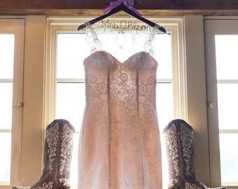 Bridal hanger, wedding dress hanger, Bride name hanger, personalized hanger, bride boots, wedding boots, wooden hanger, cowgirl wedding