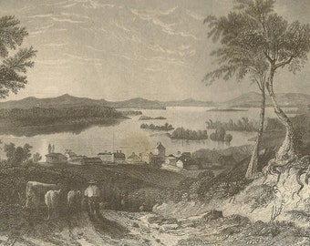 Lake Winnipisseogee Engraving from 1850s Birds Eye View of Centre Harbour of the Lake Farmer With His Cattle  (Lake Winnipesaukee)