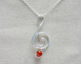 Treble Clef Musical Note Necklace - Silver Treble Clef Necklace - Valentine's Day Gift for Music Lover - Music Necklace