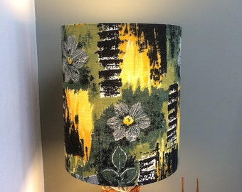 A Very stylish  MCM Lampshade in Floral and Leaf ABSTRACT Vintage Barkcloth Fabric