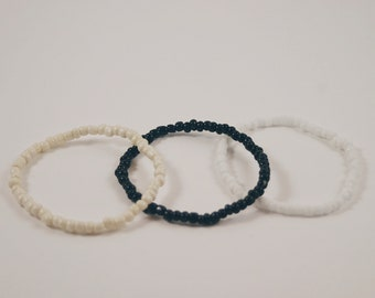 simply beaded bracelet • stackable • glass beads